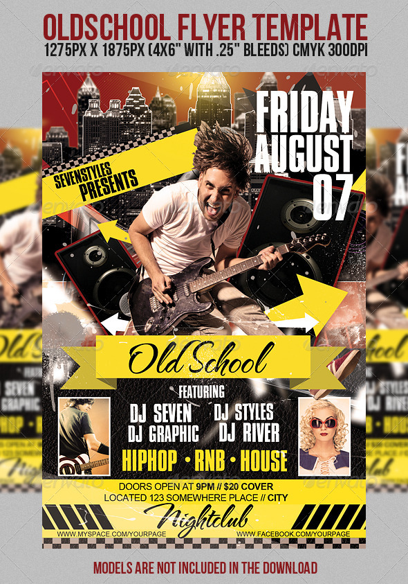 OldSchool Flyer Template - Clubs & Parties Events
