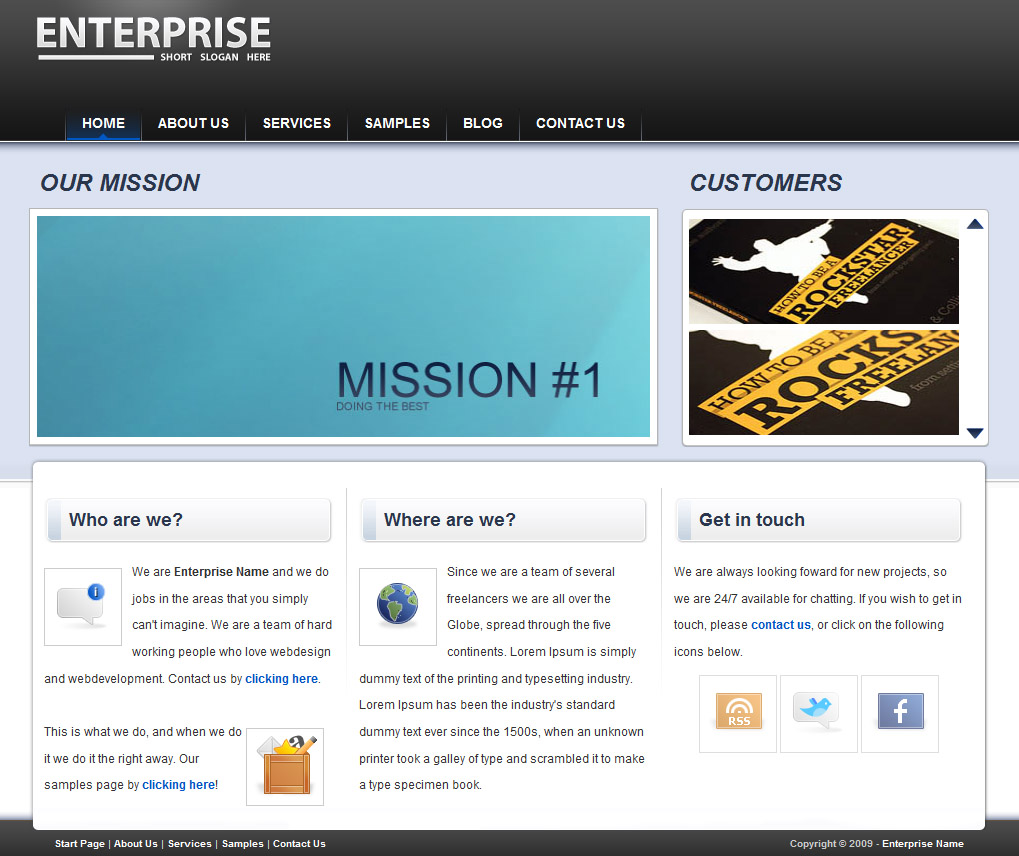 "enterprise Folio - This is the look of the front page. The area where you read ""Mission 1"", is the automated slider, the area next to it is the user controlled slider.