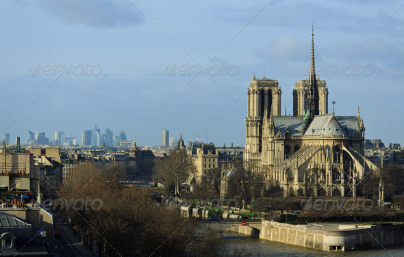 Gothic Roman Catholic Cathedral Notre-Dame de Paris - Stock Photo - Images