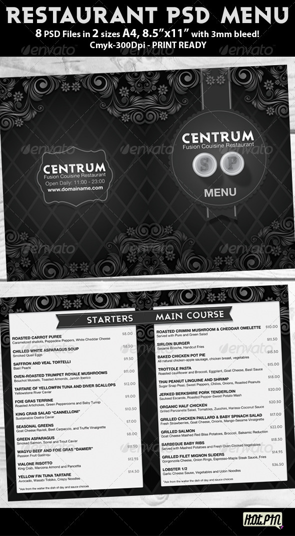 Stylish Restaurant Psd Menu Template - Miscellaneous Print Templates