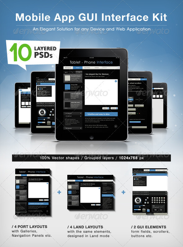 GUI Layout Design for Tablet / Phone Applications - User Interfaces Web Elements
