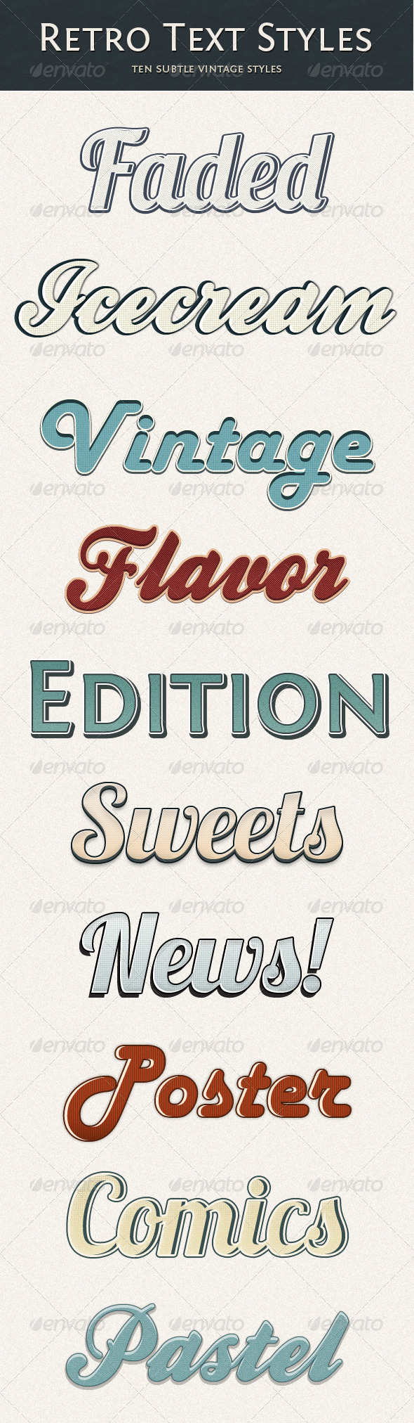 Retro Text Style - Subtle Vintage - Text Effects Styles