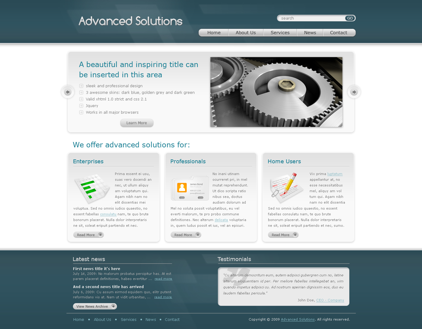 Advanced Solutions - Professional Business Theme - Here we have the home page of Advanced Solutions template - green theme version. It contains a slider, 3 boxes and a specially designed footer.
