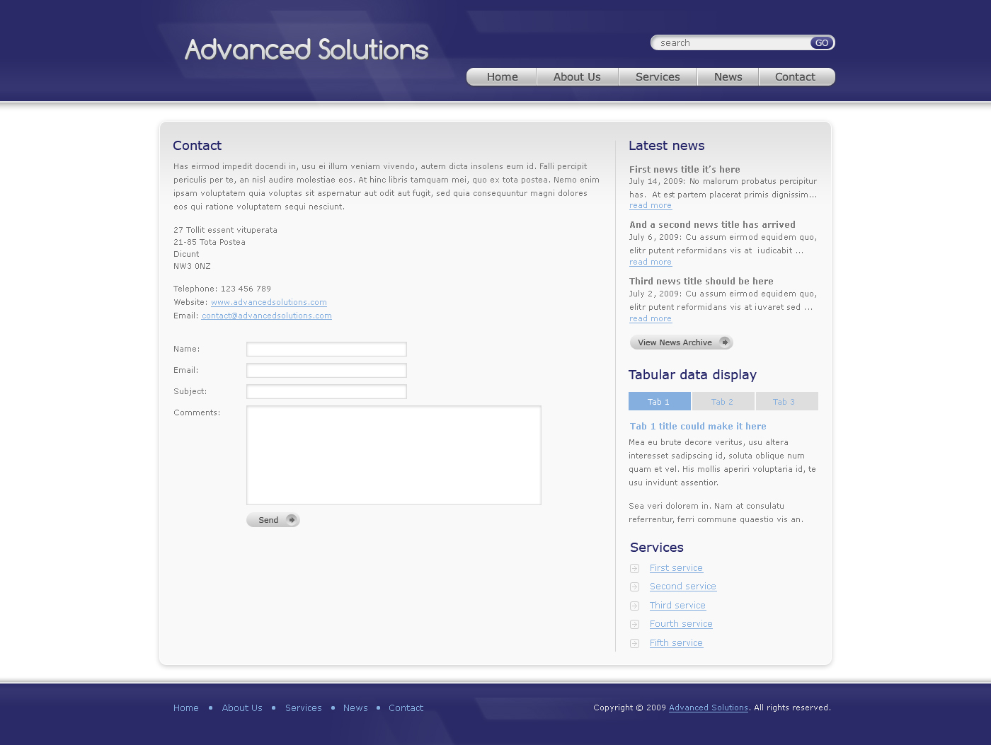 Advanced Solutions - Professional Business Theme - Here we have the contact page of Advanced Solutions template - blue theme version. In contains an address and contact form. On the right side we have a latest news block, tabular data displayt block and services list block. The footer is simple here, contains just a menu and copyright text.