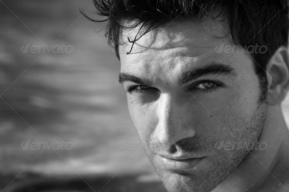 Black and white portrait - Stock Photo - Images