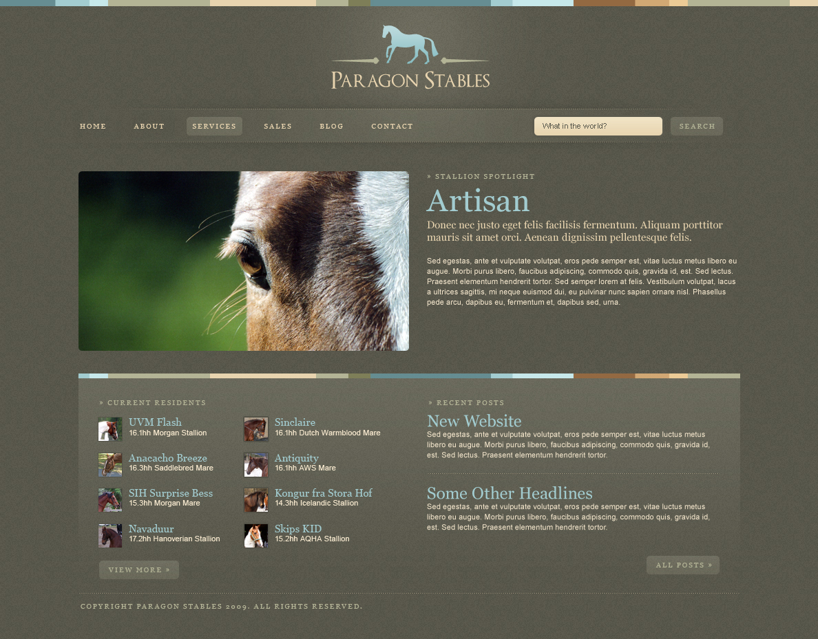 Paragon - Homepage featuring text-based navigation, jquery scroller, search form, and a detailed footer.
