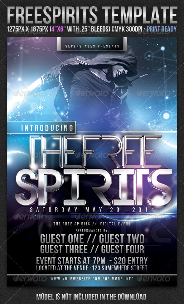 FreeSpirits Flyer Template - Clubs & Parties Events