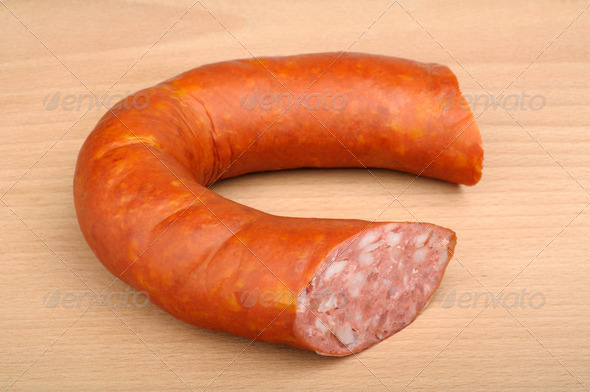 smoked sausage in natural casing - Stock Photo - Images