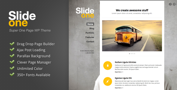 Slide One - One Page Parallax, Ajax WP Theme  - introduction