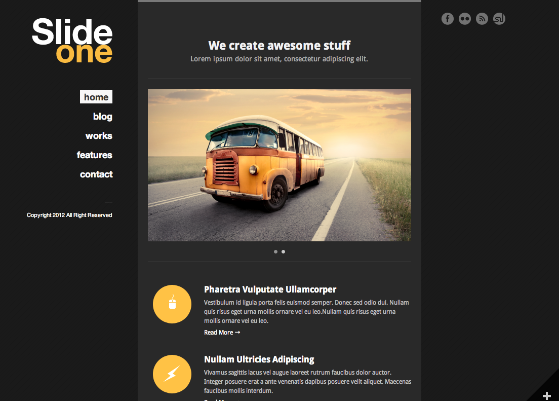 Slide One - One Page Parallax, Ajax WP Theme  - index page with color changed