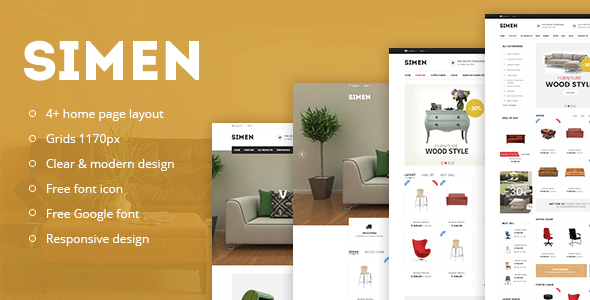 simen responsive ecommerce bootstrap template by snstheme themeforest. Black Bedroom Furniture Sets. Home Design Ideas