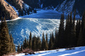Frozen middle Kolsay lake in Tien-Shan mountains, Kazkahstan - PhotoDune Item for Sale