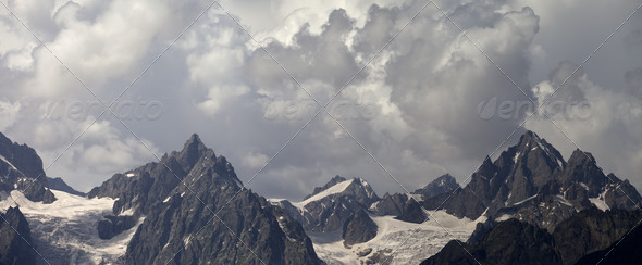 Panorama cloudy mountains - Stock Photo - Images