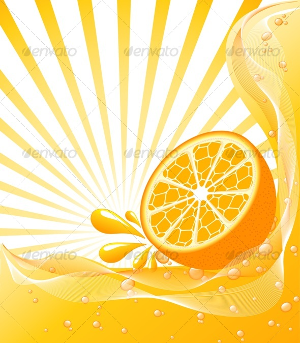 Orange background with the sun. - Organic objects Objects