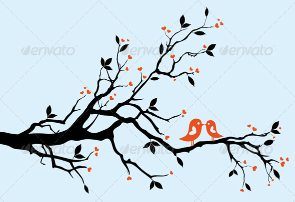 GraphicRiver Kissing Birds On Heart Tree 1480797