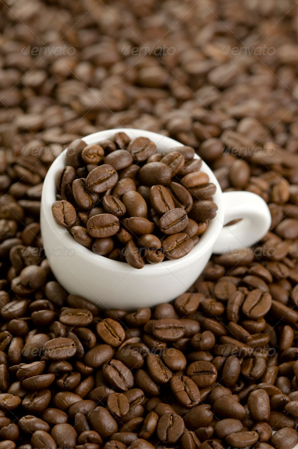 coffe beans and coffee cup - Stock Photo - Images