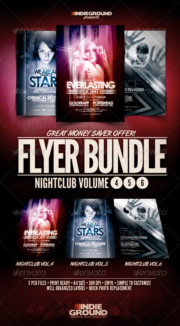 Nightclub Flyer/Poster Bundle Vol. 4-6 - Clubs & Parties Events