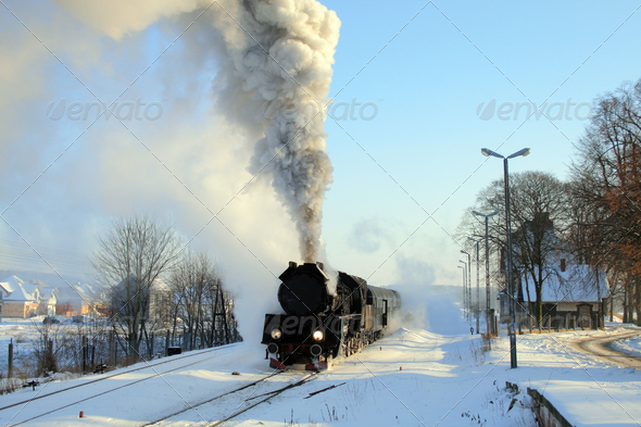 Old retro steam train - Stock Photo - Images