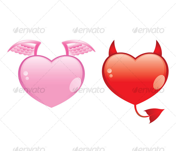 Graphic River angel and devil hearts Vectors -  Conceptual  Seasons/Holidays  Valentines 57069