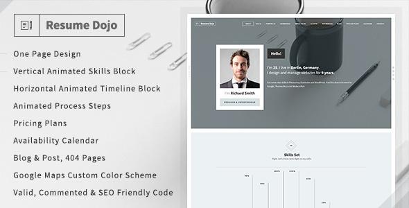 resumedojo resume portfolio html premium theme by themes dojo themeforest