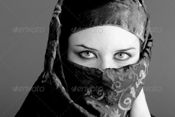 Arab woman wearing veil, black and white - Stock Photo - Images