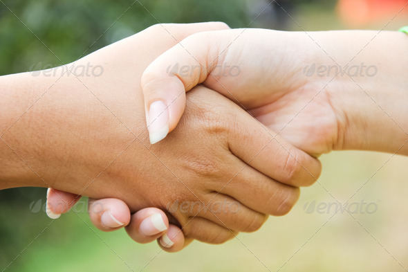 The two men shake hands - Stock Photo - Images