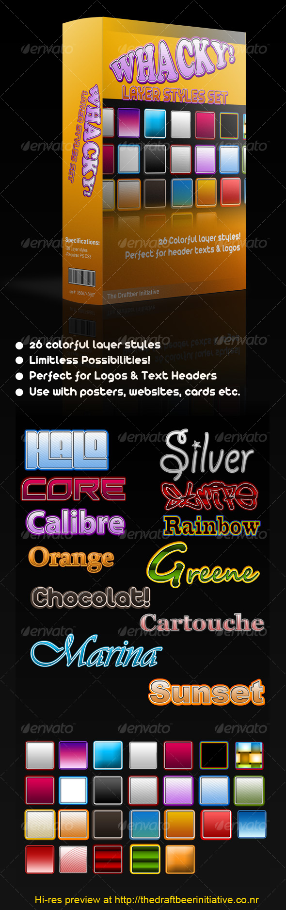 Whacky assorted layer styles - Text Effects Styles