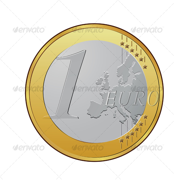 One euro coin - Objects Vectors