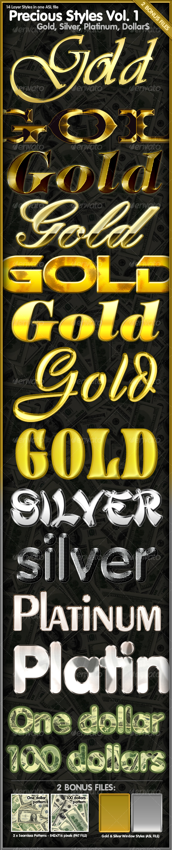 Precious Styles Vol.1 – Gold, Silver, Platinum - Text Effects Styles