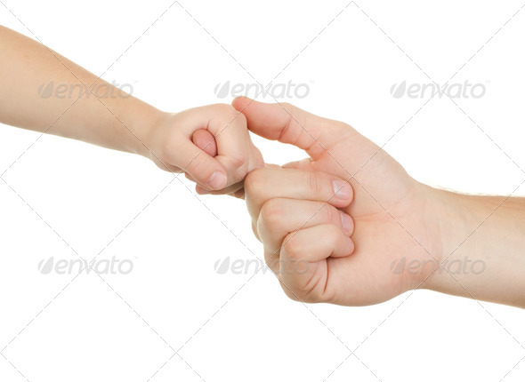 Hand adult and child - Stock Photo - Images