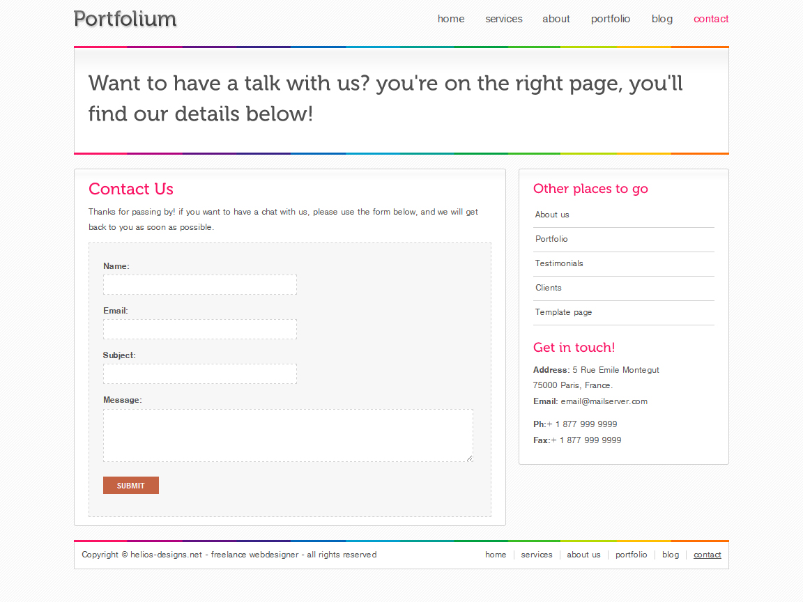 Portfolium - Full xHTML/CSS Template - This is a jQuery valited and working contact page.