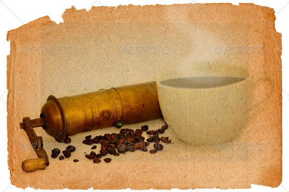 coffee mill and beans - Stock Photo - Images