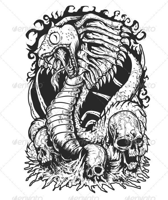 Cobra Monster - Tattoos Vectors