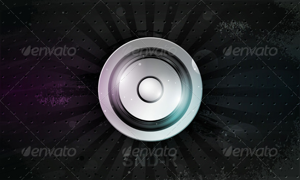 Vector musical speaker icon on a dark background GraphicRiver - Vectors -  Objects 179112