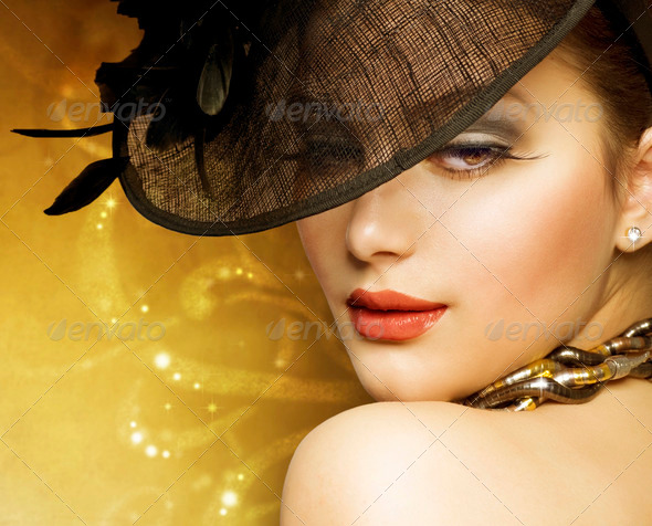 Fashion Beautiful Woman Over luxury Gold Background - Stock Photo - Images