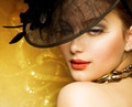 Fashion Beautiful Woman Over luxury Gold Background - PhotoDune Item for Sale