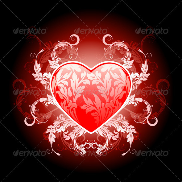 Red Valentines Heart with Pattern - Characters Vectors