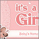 Baby Girl Announcement Postcard - GraphicRiver Item for Sale