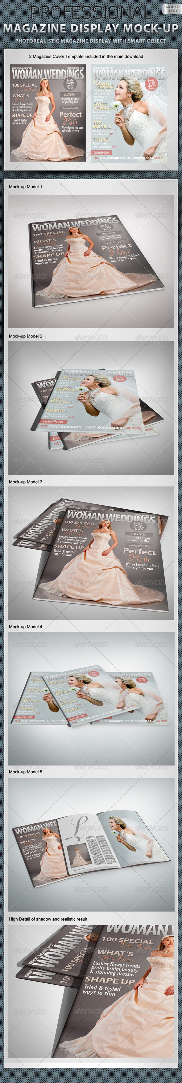 Professional Magazine Display Mock-up V2 - Magazines Print