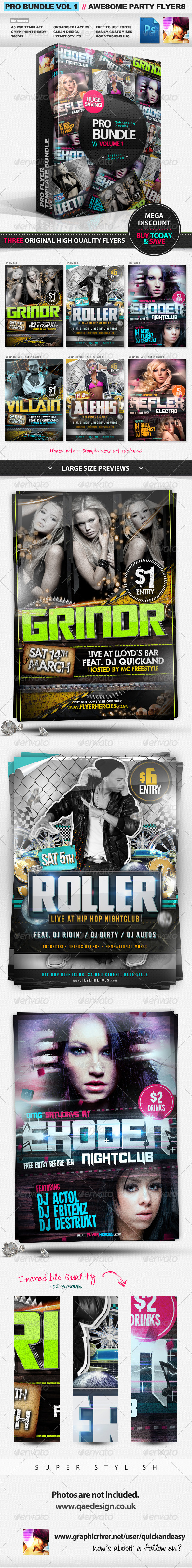 Pro Bundle Vol.1 - 3x PSD Party Flyer Templates - Clubs & Parties Events