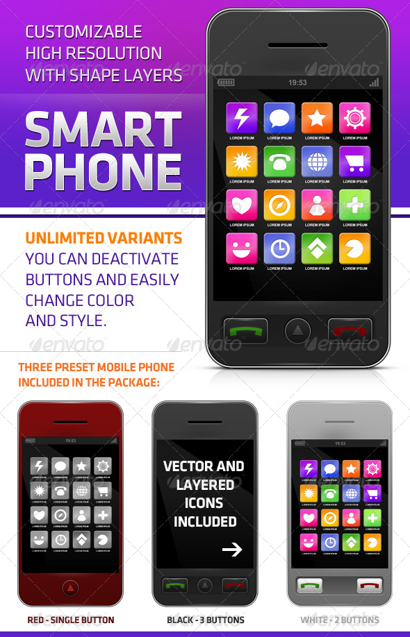 GraphicRiver Smartphone with Icons 180091