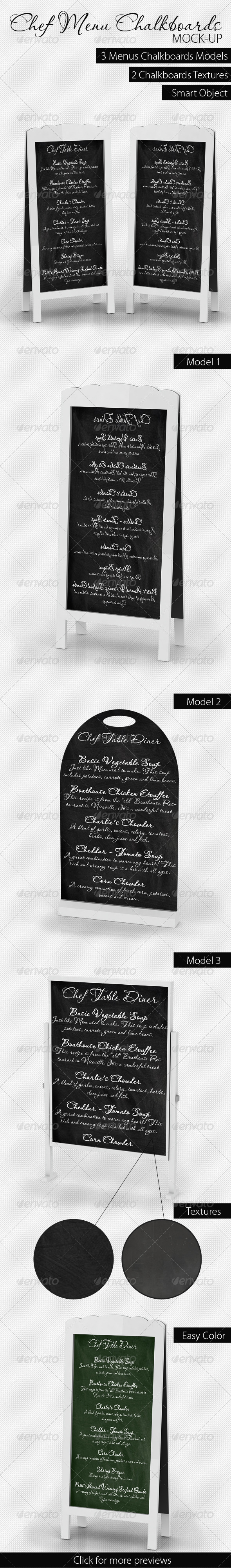 Chef Menu Chalkboards Mock-Up - Miscellaneous Displays