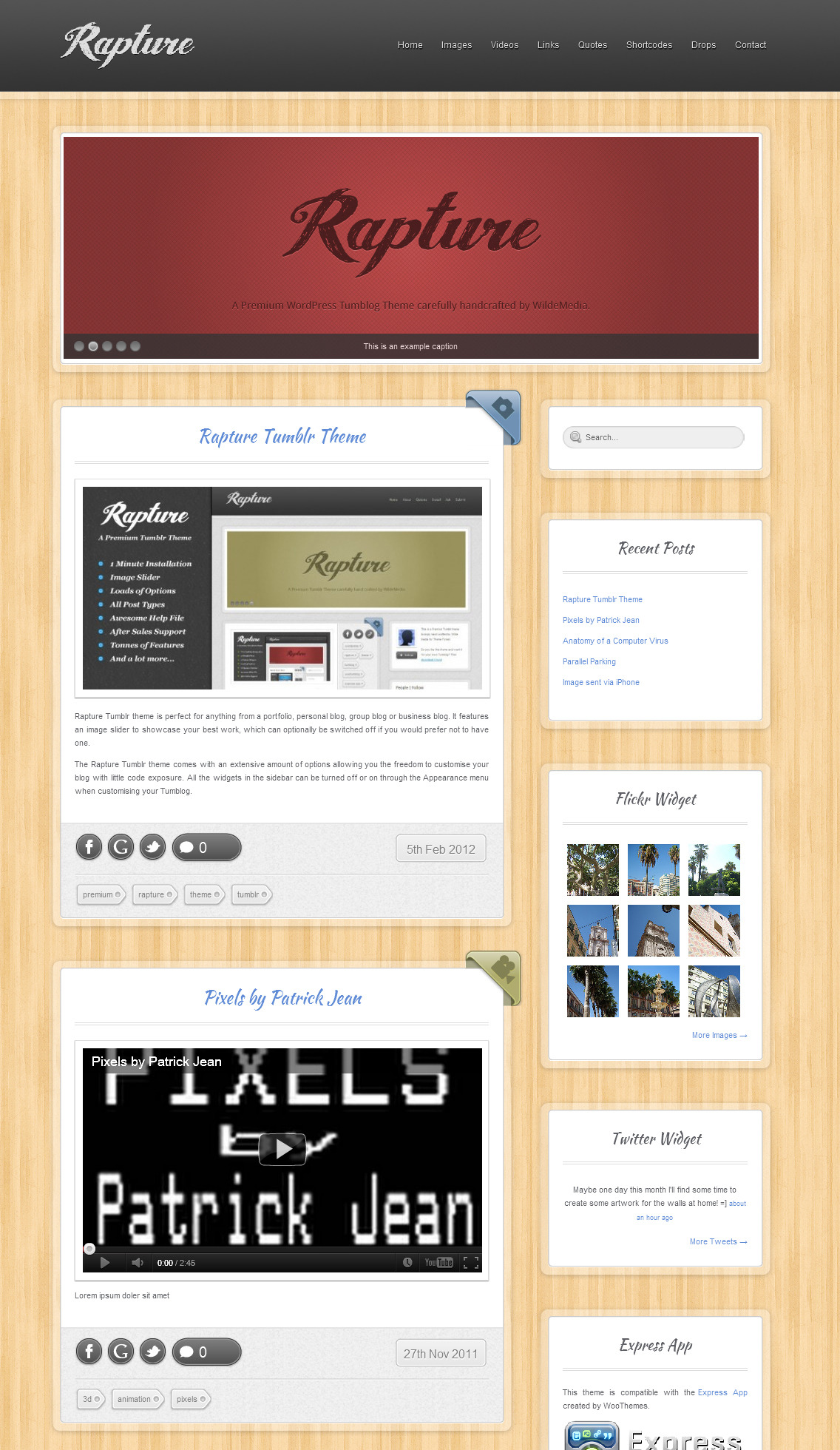 Rapture WordPress and Tumblog Theme