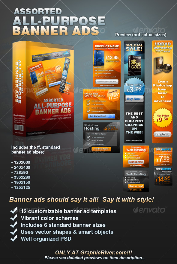 GraphicRiver Assorted All-Purpose Banner Ad Templates Vol 1 59966