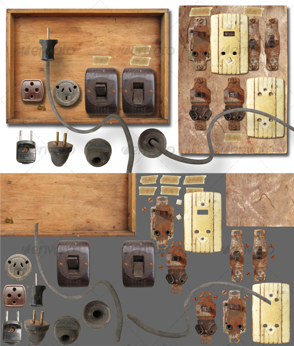 GraphicRiver Antique electricity panel kit 58486