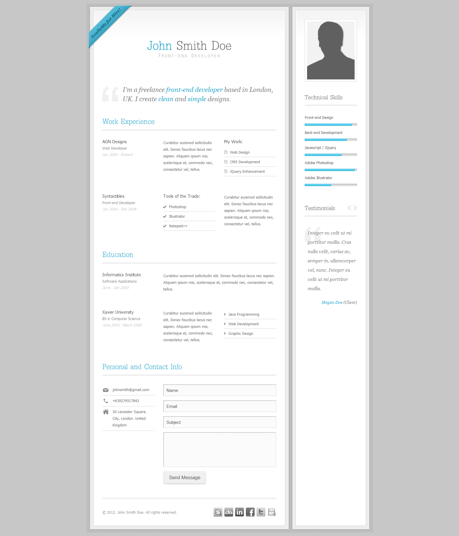 My Resume - Clean CV/Resume Template