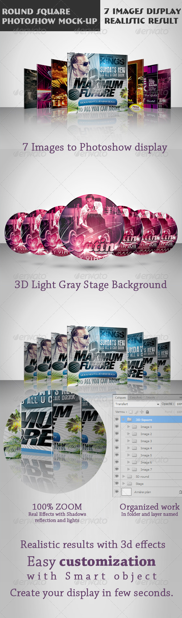 Round Square Photoshow Mock-up - Miscellaneous Displays