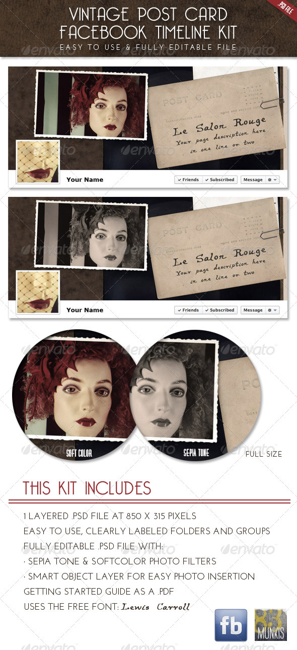 Vintage Postcard Facebook Timeline Template - Social Media Web Elements