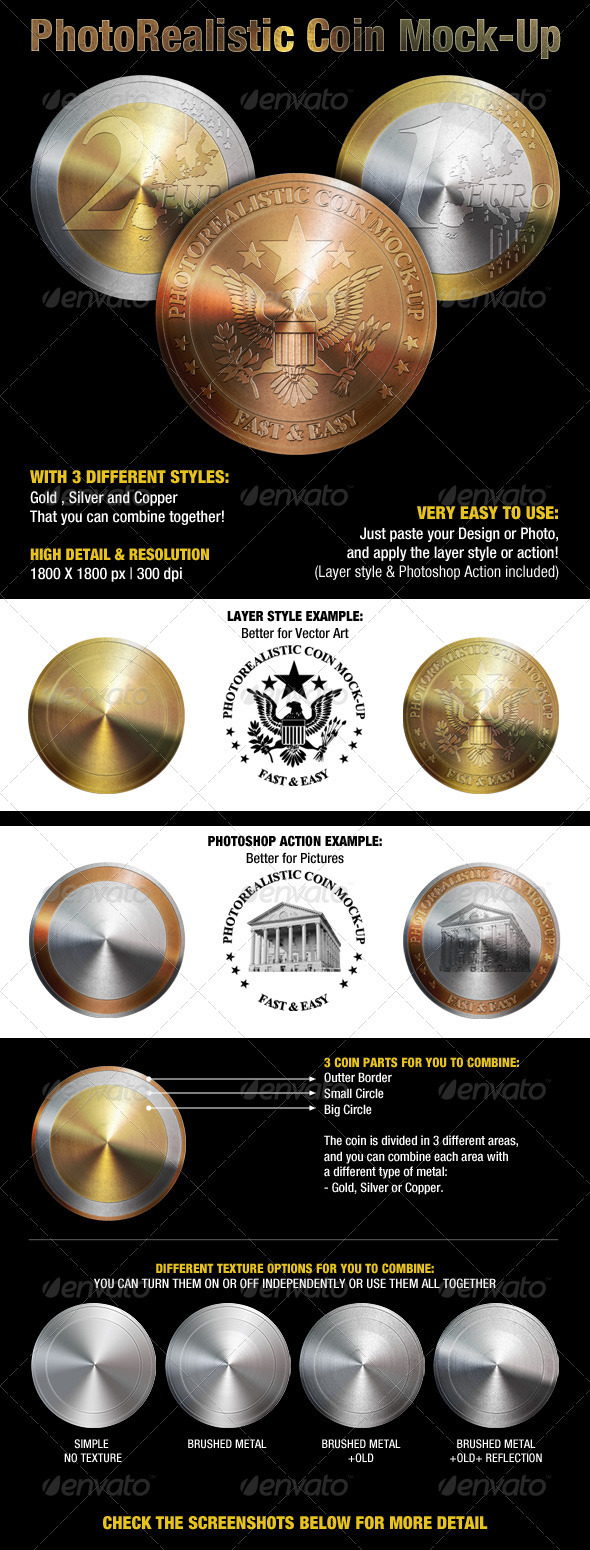 GraphicRiver Photorealistic Coin Mock-Up 1524326