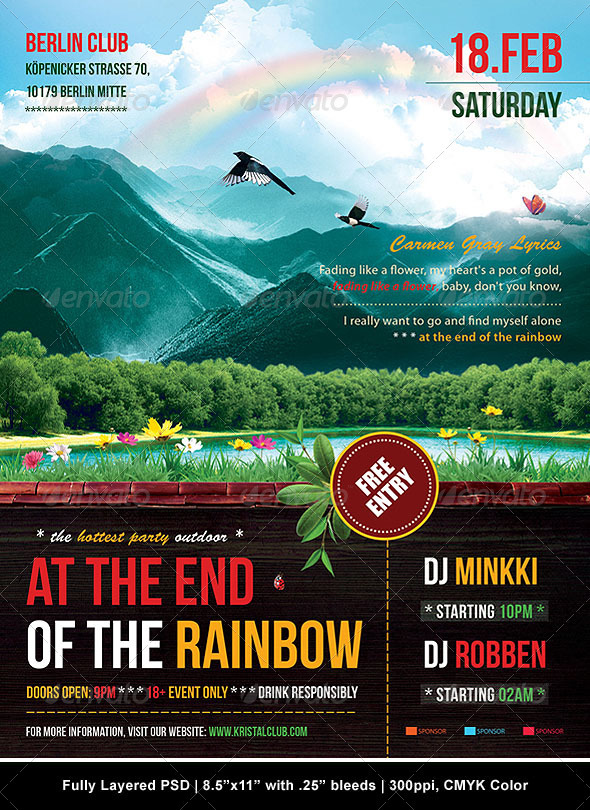 At The End Of The Rainbow Poster/Flyer - Clubs & Parties Events